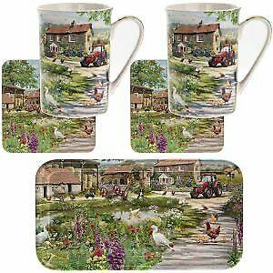 Country Pub Mug, Coaster and Tray Set